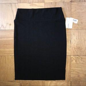NWT LulaRoe Black Textured Cassie Skirt L